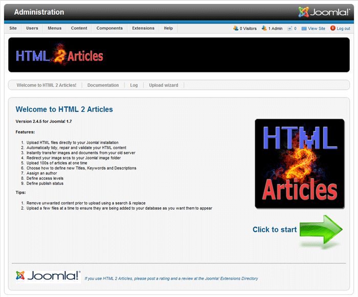 Import HTML pages as Joomla articles in seconds! | Joomla