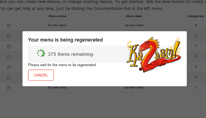 Menu Generation takes just seconds - depending on how many menu items you are creating